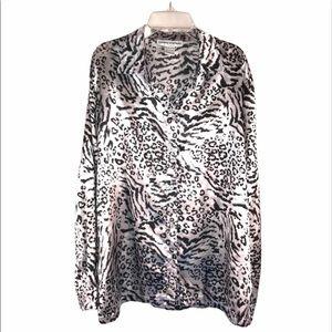 Gorgeous Satin Leopard Print Blouse, Size L